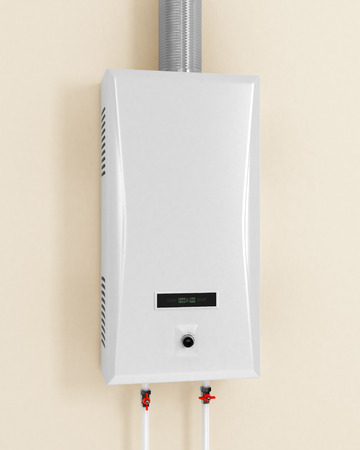 White gas boiler on a beige background