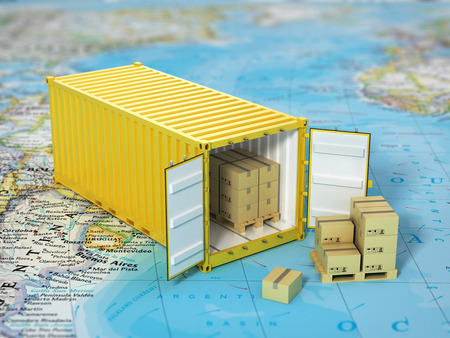 Open container with cardboard boxes on the world map. Transportation concept.