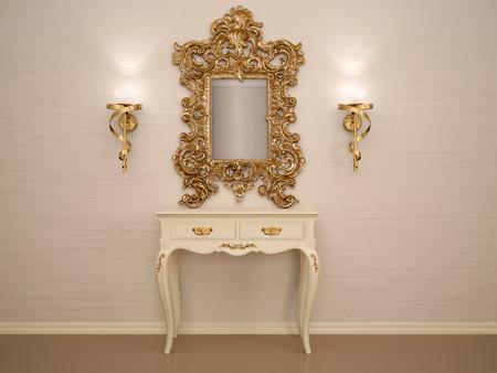 3D-afbeelding van een kaptafel met een spiegel in een gouden frame