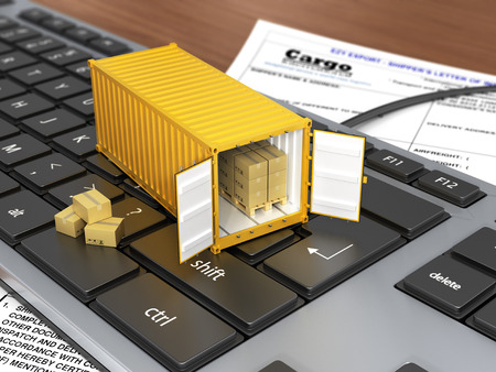 ship parcel: Opened ship container with boxes on the keyboard. Concept of delivering shipping or logistics. Stock Photo