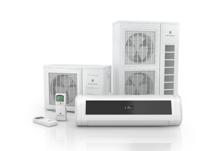 pumps: Air conditioner system isolated on white.