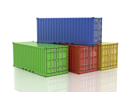 Stack of freight containers. Stock Photo