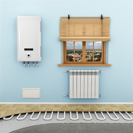 Floor heating systems in the room Stock Photo