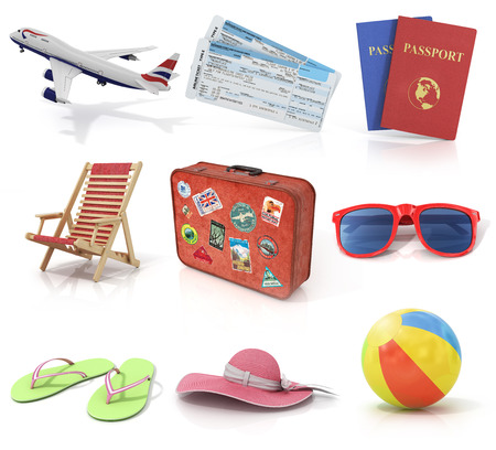 sunglasses recreation: Computer render travel and recreation objects set. Plane air tickets passports sunbed old suitcase for travel sunglasses beach shoes beach hat and colorful beach ball.