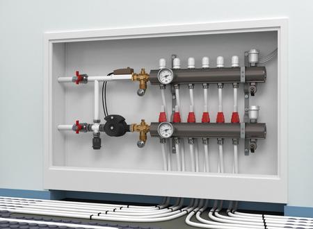 Heated floor collector manifold Stockfoto