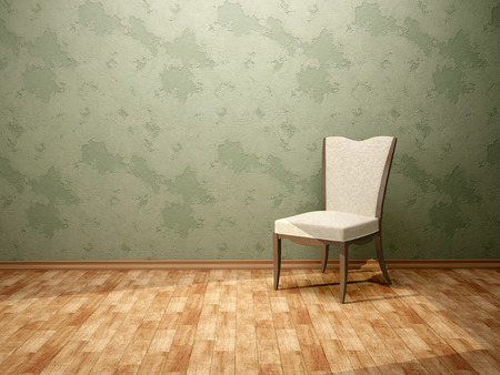 green walls: 3d illustration of the chair in the room with green walls