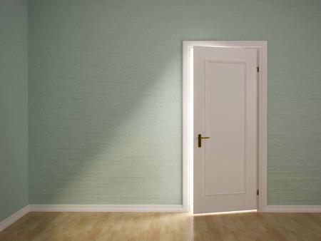 puerta abierta: 3d ilustración de abrir la puerta de la habitación verde Foto de archivo