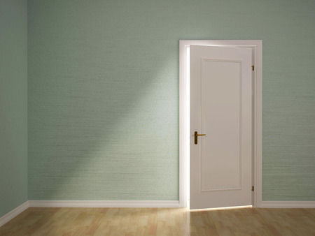 illustrazione 3D di aprire la porta della stanza verde Archivio Fotografico