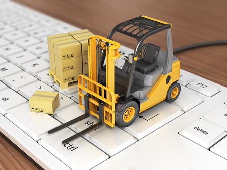 Concept of delivering, shipping or logistics. Forklift on keyboard.