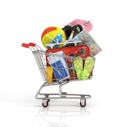 Shopping cart with beach accessories. Summer shopping. Sunbed, sunglasses, world map, beach shoes, sunscreen, passport, air tickets, beach ball, camera, hat and old red suitcase for travel in the shopping cart.