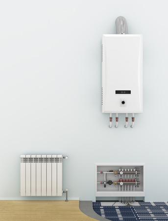 hot house: Alternative heating underfloor. Scheme of heat exchange coil