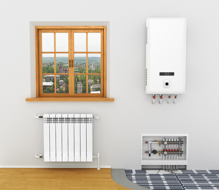 boiler house: White radiator, boiler of central heating is system Heating floor heating in a room with a window Stock Photo