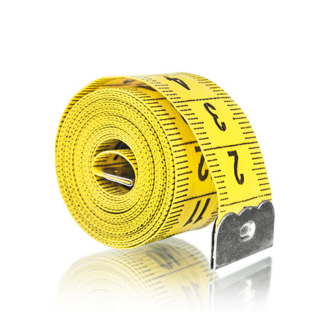 yelow: Yelow measuring tape, isolated on white