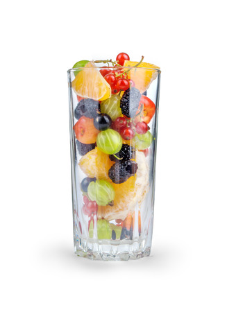 fruit: Fruit Salad In A Glass Isolated On White