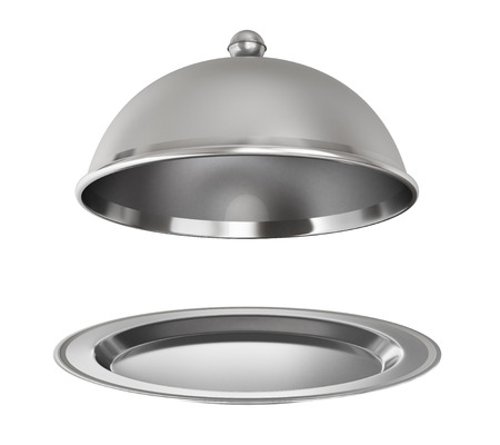 silver ware: Restaurant cloche with open lid on a white background. Stock Photo