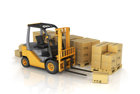 moving crate: Forklift truck with boxes. Cargo.
