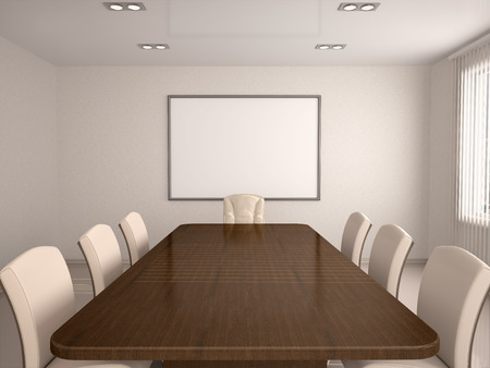 concision: 3D Illustration Of Bright Conference Hall In The Center Of The Board Stock Photo