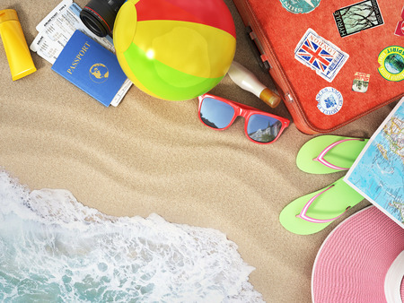 Travel concept. Sunbed, sunglasses, world map, beach shoes, sunscreen, passport, air tickets, beach ball, hat and old red suitcase for travel on the beach.