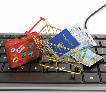 ticket: Online order air tickets concept. Passports, airline tickets, passport with air tickts in the shopping cart and world map on the keyboard. Fast order air tickets. Stock Photo