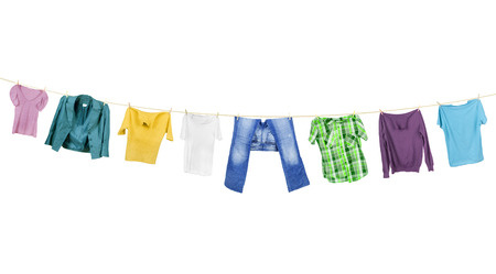 VS Clothes hanging isolated on white background Stock Photo