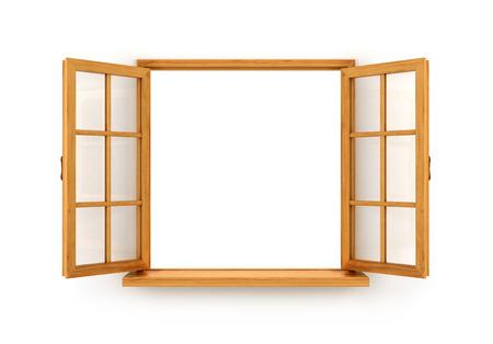 Open houten venster op een witte achtergrond Stockfoto