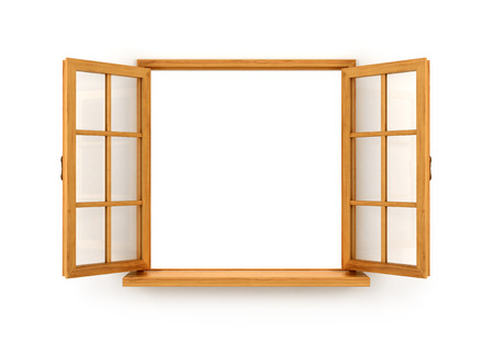 ventana abierta interior: Ventana de madera abierto aislado en el fondo blanco