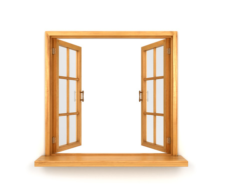 door casing: Wooden double window opened isolated on white background Stock Photo