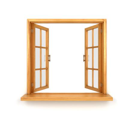 inwards: Wooden double window opened isolated on white background Stock Photo