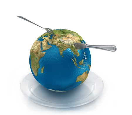 feed the poor: Globe on a plate with a fork and knife, isolated on a white background.