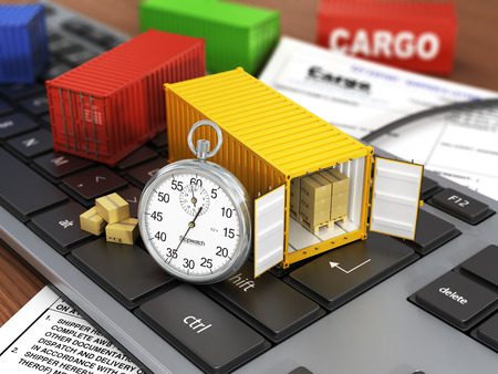 Ship containers on the keyword. Concept of delivering, shipping or logistics. Stockfoto