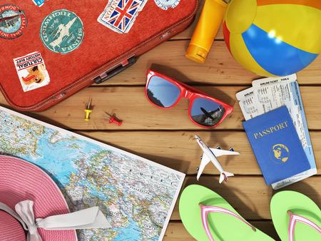 Travel khái niệm. Snglasses, bản đồ thế giới, giày bãi biển, kem chống nắng, hộ chiếu, planeickets, quả bóng bãi biển, mũ và va li màu đỏ cũ cho du lịch trên nền gỗ.