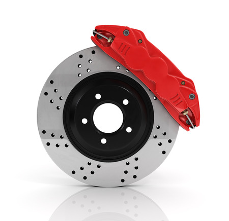 aeration: Automobile braking system. Aeration steel brake disk with perforation and red six pistons calipers and pads. Tuning auto parts. Isolated on white background.