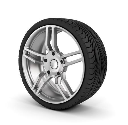 wheel: Car wheel on white background.