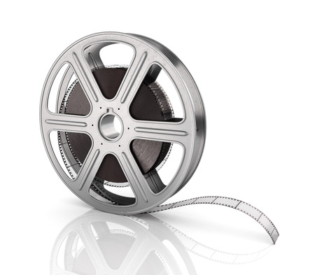 cine: Motion picture film reel on the white background.