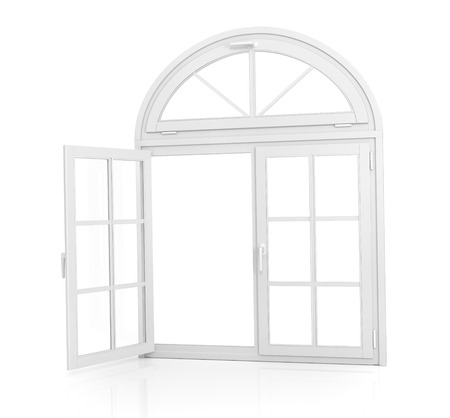 Window. Open arched window on a white background
