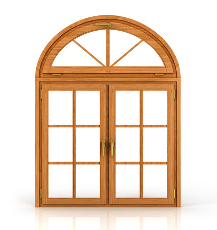 Arched wooden window isolated on white background. Standard-Bild
