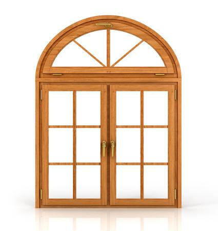 dřevěný: Oblouková dřevěná okna na bílém pozadí. Reklamní fotografie