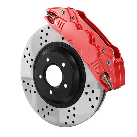 braking: Automobile braking system. Aeration steel brake disk with perforation and red six pistons calipers and pads. Tuning auto parts. Isolated on white background