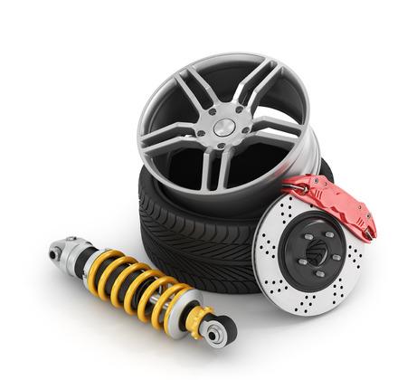 frenos: Los frenos del coche con amortiguadores, neumáticos y llantas en el fondo blanco.