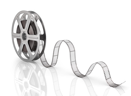 film: Motion picture film reel on the white background.