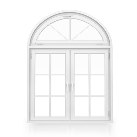 Windows. plastic arch window isolated on white background