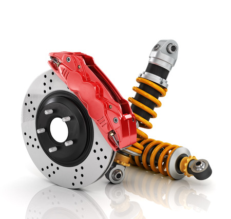 springy: Car brakes with absorbers. Auto parts.