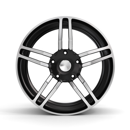 vulcanization: Car wheel, Car alloy rim on white background. Auto parts. Stock Photo