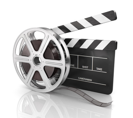 clap: Cinema clap and film reel, over white background.