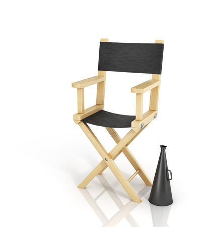 film industry: Director chair and megaphone on the white background. Stock Photo