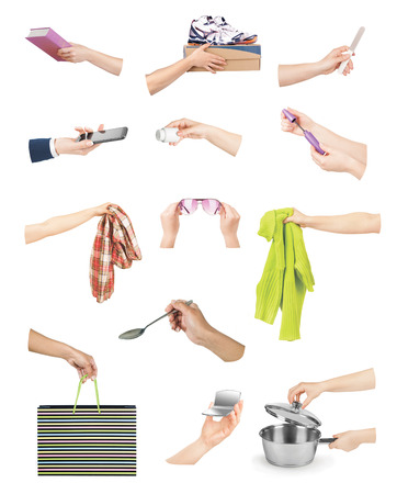 cardbox: Hands with various objects on a white background Stock Photo