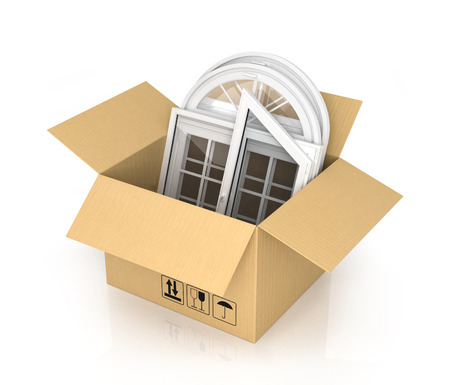 paperboard packaging: Cardboard box with plastic windows isolated on the white background Stock Photo