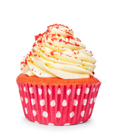 cupcakes: yellow cupcake isolated on white background