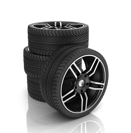 rims: Tires and rims ,automobile wheels on a white background.