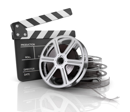 video reel: Cinema clap and film reel, over white background.